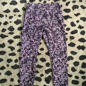 RBX PURPLE FLOWER PRINT YOGA PANTS LEGGINGS EUC L